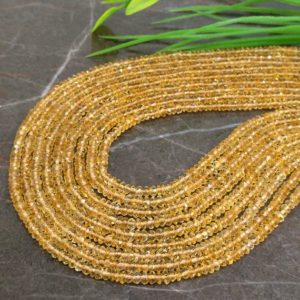Shop Citrine Faceted Beads! Wholesale! Natural Citrine 3-3.5mm Micro Faceted Rondelle Gemstone Beads / Approx 140 Pieces On 14 Inch Long Strand / Jbc-et-135327 | Natural genuine faceted Citrine beads for beading and jewelry making.  #jewelry #beads #beadedjewelry #diyjewelry #jewelrymaking #beadstore #beading #affiliate #ad