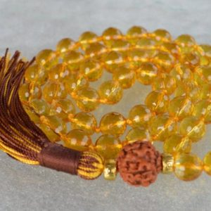 Shop Citrine Necklaces! 10 mm AAA+ Faceted Citrine Hand Knotted Japa Mala Beads Necklace November Birthstone, Creativity, Emotional balance,Relationships, Sexuality | Natural genuine Citrine necklaces. Buy crystal jewelry, handmade handcrafted artisan jewelry for women.  Unique handmade gift ideas. #jewelry #beadednecklaces #beadedjewelry #gift #shopping #handmadejewelry #fashion #style #product #necklaces #affiliate #ad
