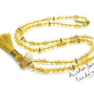Aaa Grade Citrine Mala Beads Simple Dainty Necklace, Gold Citrine Necklace, November Birthstone, Yellow Birthstone, Minimalist, Gift For Her | Natural genuine Gemstone necklaces. Buy crystal jewelry, handmade handcrafted artisan jewelry for women.  Unique handmade gift ideas. #jewelry #beadednecklaces #beadedjewelry #gift #shopping #handmadejewelry #fashion #style #product #necklaces #affiliate #ad