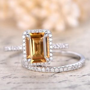 Shop Citrine Rings! Citrine Engagement Ring Set 6x8mm Emerald Cut Citrine Ring and Diamond Wedding Band Half Eternity band Bridal Wedding ring set 14K W/G | Natural genuine Citrine rings, simple unique alternative gemstone engagement rings. #rings #jewelry #bridal #wedding #jewelryaccessories #engagementrings #weddingideas #affiliate #ad