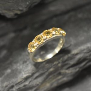 Shop Citrine Engagement Rings! Wide Citrine Band, Natural Citrine Ring, Statement Band, November Birthstone, Yellow Gemstone Band, Thick Yellow Ring, Solid Silver Ring | Natural genuine Citrine rings, simple unique handcrafted gemstone rings. #rings #jewelry #shopping #gift #handmade #fashion #style #affiliate #ad