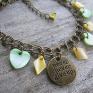 Inspirational Charm Bracelet, Never Give Up, Mother of Pearl Shell Bracelet, Courage Bracelet, BRONZE, Boho, Green Hearts, Yellow Diamonds | Natural genuine Gemstone bracelets. Buy crystal jewelry, handmade handcrafted artisan jewelry for women.  Unique handmade gift ideas. #jewelry #beadedbracelets #beadedjewelry #gift #shopping #handmadejewelry #fashion #style #product #bracelets #affiliate #ad