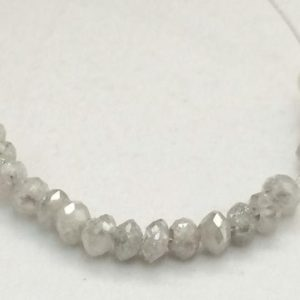 Shop Diamond Faceted Beads! 3.5-4mm Approx Grey White Sparkling Diamonds, Faceted Diamond Rondelle Bead 0.5mm Hole, Conflict Free Diamond For Jewelry (1Pc To 10Pc) | Natural genuine faceted Diamond beads for beading and jewelry making.  #jewelry #beads #beadedjewelry #diyjewelry #jewelrymaking #beadstore #beading #affiliate #ad