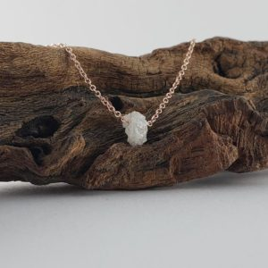 Shop Diamond Necklaces! 14k Rose Gold 1 carat Floating Rough Uncut Diamond Necklace by Dawn Vertrees   Natural genuine Diamond necklaces. Buy crystal jewelry, handmade handcrafted artisan jewelry for women.  Unique handmade gift ideas. #jewelry #beadednecklaces #beadedjewelry #gift #shopping #handmadejewelry #fashion #style #product #necklaces #affiliate #ad