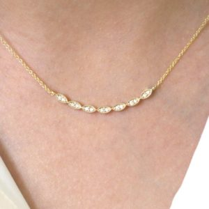 Shop Diamond Necklaces! Curved Diamond Necklace.Art Deco Women's Natural Diamond Necklace/14K Solid gold Marquise Shaped Diamond Necklace/Dainty Necklace.   Natural genuine Diamond necklaces. Buy crystal jewelry, handmade handcrafted artisan jewelry for women.  Unique handmade gift ideas. #jewelry #beadednecklaces #beadedjewelry #gift #shopping #handmadejewelry #fashion #style #product #necklaces #affiliate #ad
