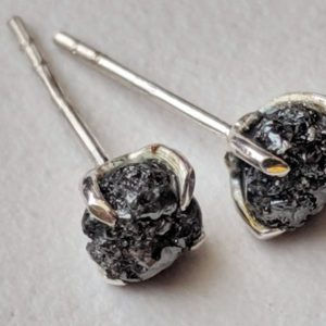 Shop Diamond Earrings! 5mm Black Raw Diamond Studs, 2 Pcs Matched Pair Black Rough Diamond Studs, 925 Sterling Silver Raw Diamond Earrings Prong Setting – PPD566 | Natural genuine Diamond earrings. Buy crystal jewelry, handmade handcrafted artisan jewelry for women.  Unique handmade gift ideas. #jewelry #beadedearrings #beadedjewelry #gift #shopping #handmadejewelry #fashion #style #product #earrings #affiliate #ad
