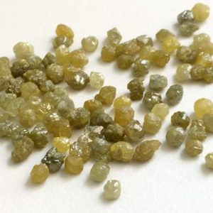 Shop Diamond Rondelle Beads! 5Cts – 10 Cts Yellow Rough Diamond Rondelles, 3-5mm Natural Yellow Diamond, 8 Pcs Yellow Loose Diamonds, Rough Diamonds, Conflict Free | Natural genuine rondelle Diamond beads for beading and jewelry making.  #jewelry #beads #beadedjewelry #diyjewelry #jewelrymaking #beadstore #beading #affiliate #ad