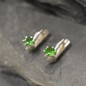 Shop Diopside Earrings! Chrome Diopside Earrings, Dainty Green Earrings, Pisces Birthstone, Green Studs, Simple Earrings, Vintage Earrings, Solid Silver Earrings | Natural genuine Diopside earrings. Buy crystal jewelry, handmade handcrafted artisan jewelry for women.  Unique handmade gift ideas. #jewelry #beadedearrings #beadedjewelry #gift #shopping #handmadejewelry #fashion #style #product #earrings #affiliate #ad