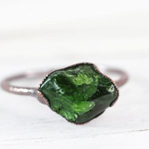 Shop Diopside Rings! Chrome Diopside Ring – Bright Green Stone – Polished Diopside | Natural genuine Diopside rings, simple unique handcrafted gemstone rings. #rings #jewelry #shopping #gift #handmade #fashion #style #affiliate #ad