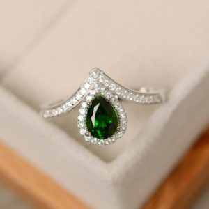Shop Diopside Rings! Diopside ring, pear cut, halo engagement ring for women, sterling sivler | Natural genuine Diopside rings, simple unique alternative gemstone engagement rings. #rings #jewelry #bridal #wedding #jewelryaccessories #engagementrings #weddingideas #affiliate #ad