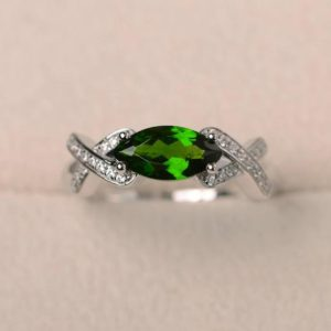 Shop Diopside Rings! Promise ring, natural diopside ring, marquise cut green gemstone, sterling silver ring | Natural genuine Diopside rings, simple unique handcrafted gemstone rings. #rings #jewelry #shopping #gift #handmade #fashion #style #affiliate #ad