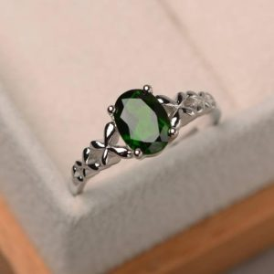 Shop Diopside Rings! Promise ring, natural diopside ring, solitaire ring, oval cut green gemstone, sterling silver ring | Natural genuine Diopside rings, simple unique handcrafted gemstone rings. #rings #jewelry #shopping #gift #handmade #fashion #style #affiliate #ad