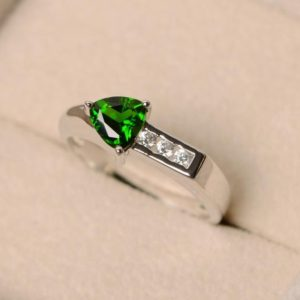 Shop Diopside Rings! Diopside ring, trillion cut ring, green diopside ring, chrome diopside, arrow rings | Natural genuine Diopside rings, simple unique handcrafted gemstone rings. #rings #jewelry #shopping #gift #handmade #fashion #style #affiliate #ad