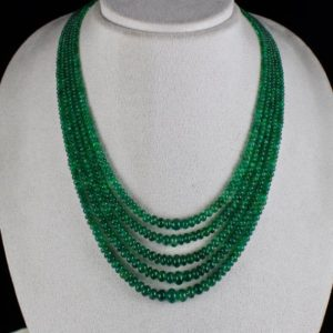 Shop Emerald Round Beads! Elegant Natural Zambian Emerald Round Beads 5 Line 338 Carats Gemstone Necklace With Silver Hook | Natural genuine round Emerald beads for beading and jewelry making.  #jewelry #beads #beadedjewelry #diyjewelry #jewelrymaking #beadstore #beading #affiliate #ad