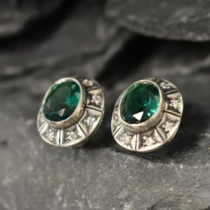 Shop Emerald Earrings! Emerald Earrings, Created Emerald, Victorian Earrings, Vintage Earrings, Green Diamond Studs, Silver Tribal Studs, Solid Sterling Silver | Natural genuine Emerald earrings. Buy crystal jewelry, handmade handcrafted artisan jewelry for women.  Unique handmade gift ideas. #jewelry #beadedearrings #beadedjewelry #gift #shopping #handmadejewelry #fashion #style #product #earrings #affiliate #ad