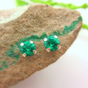 Shop Emerald Earrings! Emerald Studs – Genuine Lab Grown Colombian Emerald Screw Back Studs in Real 14k Gold or Platinum – 3mm, 4mm, 5mm, 6mm | Natural genuine Emerald earrings. Buy crystal jewelry, handmade handcrafted artisan jewelry for women.  Unique handmade gift ideas. #jewelry #beadedearrings #beadedjewelry #gift #shopping #handmadejewelry #fashion #style #product #earrings #affiliate #ad