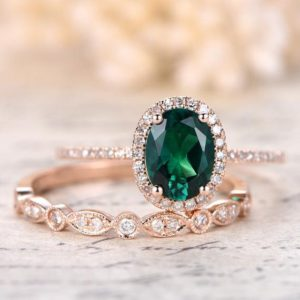 6x8mm Oval Emerald Ring Set Milgrain Wedding Band Bridal Wedding Ring Set 14k Rose Gold Emerald Engagement Ring Set, diamond Halo, milgrain | Natural genuine Array rings, simple unique alternative gemstone engagement rings. #rings #jewelry #bridal #wedding #jewelryaccessories #engagementrings #weddingideas #affiliate #ad
