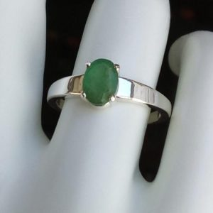 natural emerald ring oval solitaire sterling silver ring size 7 promise engagement ring jewelry gift | Natural genuine Array rings, simple unique alternative gemstone engagement rings. #rings #jewelry #bridal #wedding #jewelryaccessories #engagementrings #weddingideas #affiliate #ad