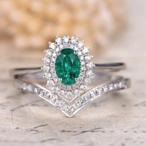 Solid 14K White Gold Natural Emerald Engagement Ring Set 0.85ct Oval Emerald Ring May Birthstone,2pcs Wedding Rings,Curved V Diamond Band | Natural genuine Gemstone rings, simple unique alternative gemstone engagement rings. #rings #jewelry #bridal #wedding #jewelryaccessories #engagementrings #weddingideas #affiliate #ad