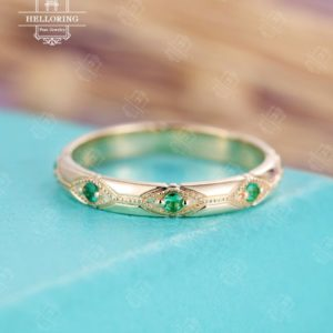 Vintage Emerald wedding band, 3mm Gold band, Unique Bridal Jewelry Art Deco Stacking Engrave antique Birthstone Alternative Promise Gift | Natural genuine Gemstone rings, simple unique alternative gemstone engagement rings. #rings #jewelry #bridal #wedding #jewelryaccessories #engagementrings #weddingideas #affiliate #ad