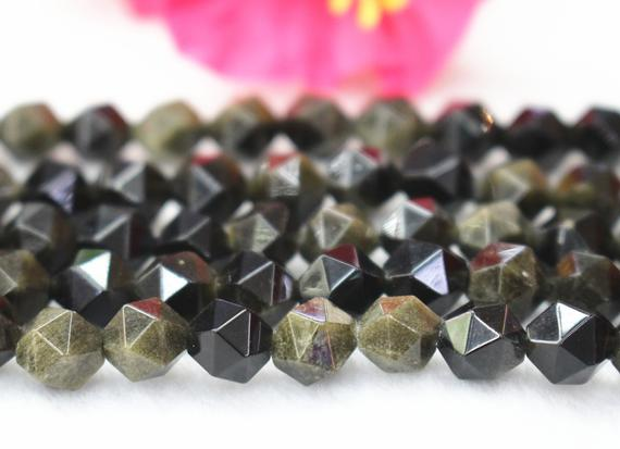 """Faceted Golden Obsidian Nugget Beads,6mm 8mm 10mm 12mmfaceted Golden Obsidian Nugget Beads,beads Supply.15"""" Strand"""