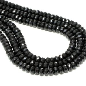 "Shop Onyx Beads! Faceted rondelle beads,black onyx beads,black diamond beads,black necklace diy,gemstone beads,loose beads,beads wholesale – 16"" Strand 