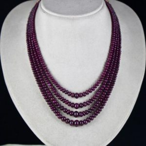 Shop Ruby Round Beads! Fine Red 4 Line 399 Cts Natural Untreated RUBY ROUND BEADS Gemstone Necklace | Natural genuine round Ruby beads for beading and jewelry making.  #jewelry #beads #beadedjewelry #diyjewelry #jewelrymaking #beadstore #beading #affiliate #ad