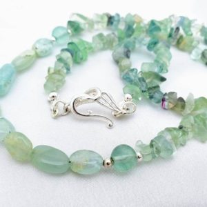 Shop Fluorite Necklaces! Boho Gypsy Aquamarine & Fluorite Necklace. Seaglass, Aqua, Blue-green Crystal Gemstone Jewelry. Long, Great For Layering. March Birthstone | Natural genuine Fluorite necklaces. Buy crystal jewelry, handmade handcrafted artisan jewelry for women.  Unique handmade gift ideas. #jewelry #beadednecklaces #beadedjewelry #gift #shopping #handmadejewelry #fashion #style #product #necklaces #affiliate #ad