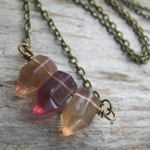 Shop Fluorite Jewelry! Fluorite Point Necklace, Multi Colored Fluorite Jewelry, Antiqued Bronze or Copper Jewelry, Triplets, Bar Necklace, Bullet Necklace, MFB04 | Natural genuine Fluorite jewelry. Buy crystal jewelry, handmade handcrafted artisan jewelry for women.  Unique handmade gift ideas. #jewelry #beadedjewelry #beadedjewelry #gift #shopping #handmadejewelry #fashion #style #product #jewelry #affiliate #ad