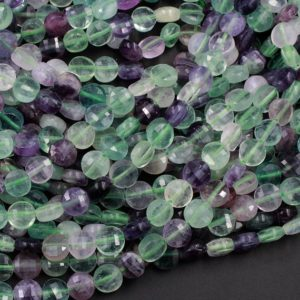 """Shop Fluorite Bead Shapes! Faceted Natural Fluorite 8mm Coin Flat Disc Dazzling Facets Stunning Gemmy Green Purple Gemstone Diamond Cut Gemstone 15.5"""" Strand 