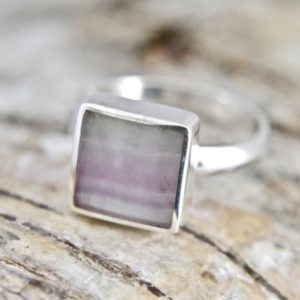 Shop Fluorite Rings! Fluorite Ring Handmade In Silver | Natural genuine Fluorite rings, simple unique handcrafted gemstone rings. #rings #jewelry #shopping #gift #handmade #fashion #style #affiliate #ad