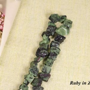 Shop Ruby Zoisite Chip & Nugget Beads! Ruby in Zoisite Beads Raw Stone Natural Gemstone Beads Loose Beads/Jewelry Making/Chakra/Bead Size Approx: 10*12  mm | Natural genuine chip Ruby Zoisite beads for beading and jewelry making.  #jewelry #beads #beadedjewelry #diyjewelry #jewelrymaking #beadstore #beading #affiliate #ad