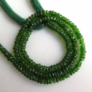 Shop Garnet Faceted Beads! Natural Green Chrome Tourmaline Rondelle Faceted Beads 3mm To 3.5mm Approx. 13 inches Approx. Strand GDS995 | Natural genuine faceted Garnet beads for beading and jewelry making.  #jewelry #beads #beadedjewelry #diyjewelry #jewelrymaking #beadstore #beading #affiliate #ad
