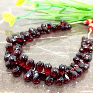 Shop Garnet Bead Shapes! Natural Garnet 8-11mm Faceted Drops Briolette Beads / Approx 84 pieces on 8 Inch long strand / JBC-ET-148727 | Natural genuine other-shape Garnet beads for beading and jewelry making.  #jewelry #beads #beadedjewelry #diyjewelry #jewelrymaking #beadstore #beading #affiliate #ad