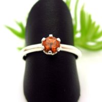 Spessartite Garnet Ring In Sterling Silver, Light Apricot Orange Color Gemstone | Natural genuine Gemstone jewelry. Buy crystal jewelry, handmade handcrafted artisan jewelry for women.  Unique handmade gift ideas. #jewelry #beadedjewelry #beadedjewelry #gift #shopping #handmadejewelry #fashion #style #product #jewelry #affiliate #ad