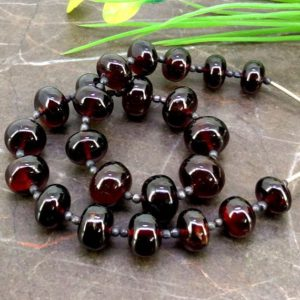Shop Garnet Rondelle Beads! Natural Garnet 9.5-11.5mm Smooth Rondelle Briolette Beads / Approx 23 Pieces On 11 Inch Long Strand / Jbc-et-153808 | Natural genuine rondelle Garnet beads for beading and jewelry making.  #jewelry #beads #beadedjewelry #diyjewelry #jewelrymaking #beadstore #beading #affiliate #ad