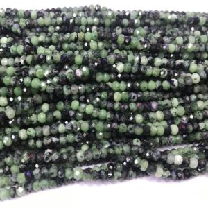 Shop Ruby Zoisite Faceted Beads! Genuine Faceted Ruby Zoisite 2x4mm Rondelle Cut Natural Loose Gemstone GradeA Beads 15 inch Jewelry Bracelet Necklace Material Supply | Natural genuine faceted Ruby Zoisite beads for beading and jewelry making.  #jewelry #beads #beadedjewelry #diyjewelry #jewelrymaking #beadstore #beading #affiliate #ad