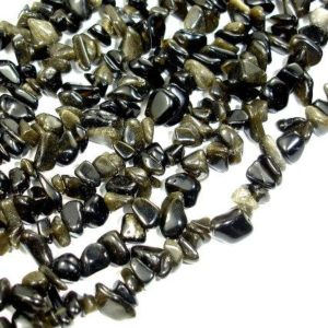 Golden Obsidian, Approx 4-10mm Chips Beads, 35 Inch, Long full strand, Hole 0.8 mm (239005001) | Natural genuine chip Golden Obsidian beads for beading and jewelry making.  #jewelry #beads #beadedjewelry #diyjewelry #jewelrymaking #beadstore #beading #affiliate #ad