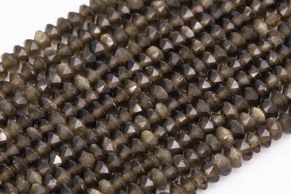 Genuine Natural Golden Obsidian Loose Beads Grade Aaa Faceted Rondelle Shape 3x1.5mm