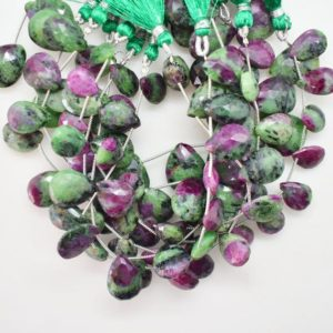 Shop Ruby Zoisite Bead Shapes! Natural Ruby Zoisite Faceted Pear Shape Gemstone Beads, 8 Inch Strand, Wholesale Ruby Zoisite Gems Beads, Ruby Zoiste Pear Briolette BU1041 | Natural genuine other-shape Ruby Zoisite beads for beading and jewelry making.  #jewelry #beads #beadedjewelry #diyjewelry #jewelrymaking #beadstore #beading #affiliate #ad