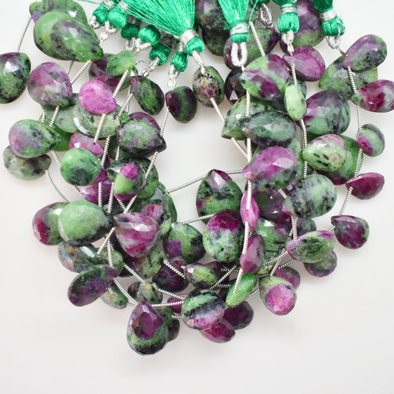 Natural Ruby Zoisite Faceted Pear Shape Gemstone Beads, 8 Inch Strand, Wholesale Ruby Zoisite Gems Beads, Ruby Zoiste Pear Briolette Bu1041