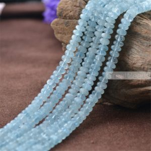 Shop Aquamarine Rondelle Beads! Grade AA Natural Aquamarine Rondelle Beads NOT Dyed 3x5mm 3x6mm Flat Round 15 Inch Strand AQ32 | Natural genuine rondelle Aquamarine beads for beading and jewelry making.  #jewelry #beads #beadedjewelry #diyjewelry #jewelrymaking #beadstore #beading #affiliate #ad