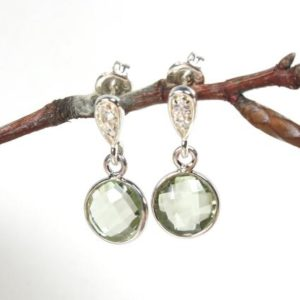 Shop Green Amethyst Earrings! Green Amethyst Earrings Sterling Silver light green gemstone delicate dainty petite dangle drops studs, holiday gift for her women 5968 | Natural genuine Green Amethyst earrings. Buy crystal jewelry, handmade handcrafted artisan jewelry for women.  Unique handmade gift ideas. #jewelry #beadedearrings #beadedjewelry #gift #shopping #handmadejewelry #fashion #style #product #earrings #affiliate #ad