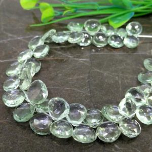 Shop Green Amethyst Beads! Natural Green Amethyst 11-13mm Briolette Heart Shape Gemstone Beads / Approx. 46 Pieces on 9 Inch Long Strand / JBC-ET-157401 | Natural genuine other-shape Green Amethyst beads for beading and jewelry making.  #jewelry #beads #beadedjewelry #diyjewelry #jewelrymaking #beadstore #beading #affiliate #ad