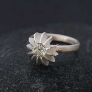Shop Green Amethyst Rings! Green Amethyst Engagement Ring Sea Urchin Ring Design | Natural genuine Green Amethyst rings, simple unique alternative gemstone engagement rings. #rings #jewelry #bridal #wedding #jewelryaccessories #engagementrings #weddingideas #affiliate #ad