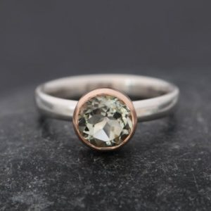 Shop Green Amethyst Rings! Green Amethyst Engagement Ring – Solitaire Engagement Ring – Green Amethyst Ring – Amethyst Set in 9k Rose Gold  Made to Order Free Shipping | Natural genuine Green Amethyst rings, simple unique alternative gemstone engagement rings. #rings #jewelry #bridal #wedding #jewelryaccessories #engagementrings #weddingideas #affiliate #ad