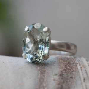 Shop Green Amethyst Rings! Large Oval Green Amethyst Statement Ring Silver – Pale Green Gem Cocktail Ring | Natural genuine Green Amethyst rings, simple unique handcrafted gemstone rings. #rings #jewelry #shopping #gift #handmade #fashion #style #affiliate #ad