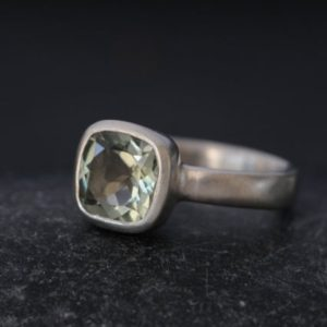Shop Green Amethyst Rings! Size 5.5 Green Amethyst Ring Cushion Cut – Square Green Amethyst Ring Ready to Ship | Natural genuine Green Amethyst rings, simple unique handcrafted gemstone rings. #rings #jewelry #shopping #gift #handmade #fashion #style #affiliate #ad