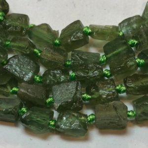 """Shop Apatite Chip & Nugget Beads! Green Apatite Raw Free Form Gemstone Beads. Full 15"""" strand of 7-8mm rough nugget Apatite beads. Roughly 40 beads per strand. 
