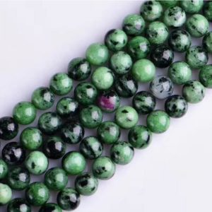 Shop Ruby Zoisite Round Beads! Green ruby zoisite Round loose DIY gemstone beads  16'' 6mm 8mm 10mm 12mm | Natural genuine round Ruby Zoisite beads for beading and jewelry making.  #jewelry #beads #beadedjewelry #diyjewelry #jewelrymaking #beadstore #beading #affiliate #ad